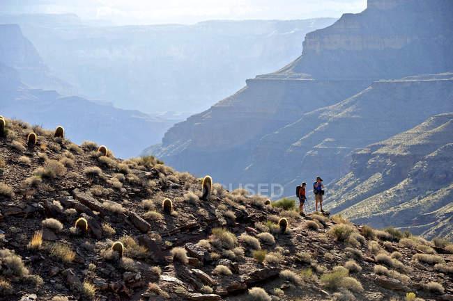 Gli escursionisti seguono un percorso lungo il fiume Colorado che si connettono Tapeats Creek e Thunder River a Deer Creek nel Grand Canyon di fuori di Fredonia, Arizona novembre 2011. Il ciclo di 21,4-mile inizia presso il sentiero di Bill Hall sul North Rim e desce — Foto stock
