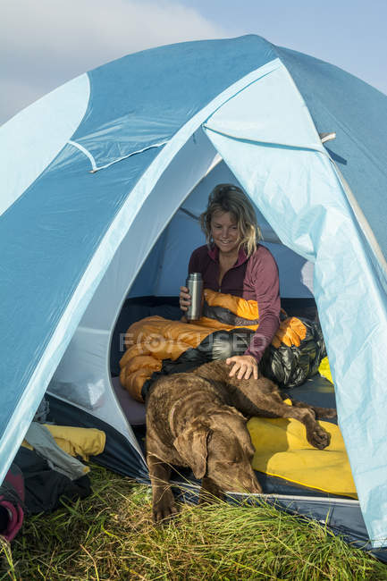 A Woman And Her Chesapeake Bay Retriever Dog Waking Up In A Tent While Camping On Grassy Ridge — Stock Photo