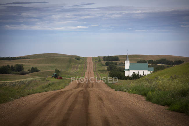 Rural Church Along A Country Road Near Endiang, Alberta, Canada — Stock Photo