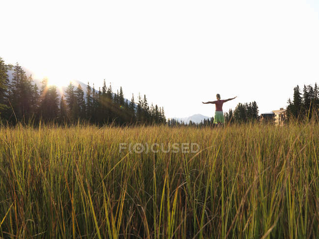 View across meadow grasses to woman — Stock Photo
