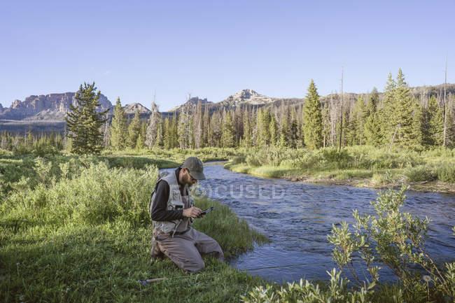 Людина нахлистом в Брукс озеро крик, шошонов National Forest Вайомінг — стокове фото