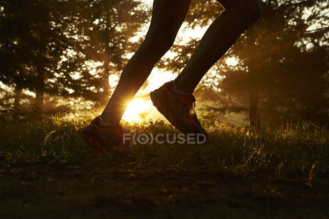 Close Up Of A Runner's Feet While Trail Running During Sunrise — Stock Photo