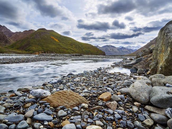 Vista de um rio no Parque Nacional Denali, Alasca — Fotografia de Stock