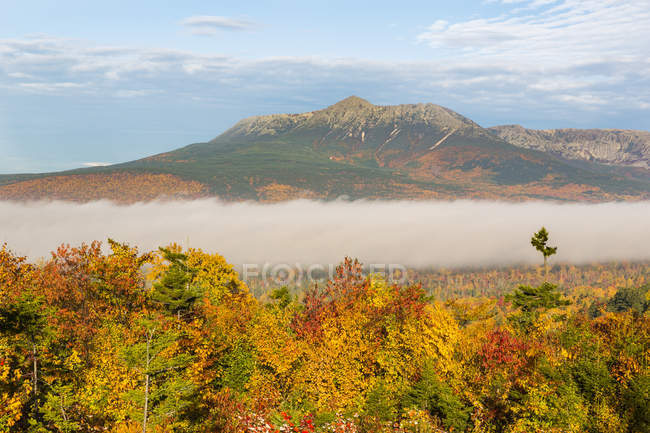 Overlooking view of Fog and Mount Katahdin in Maine Katahdin Woods and Waters National Monument. — Stock Photo