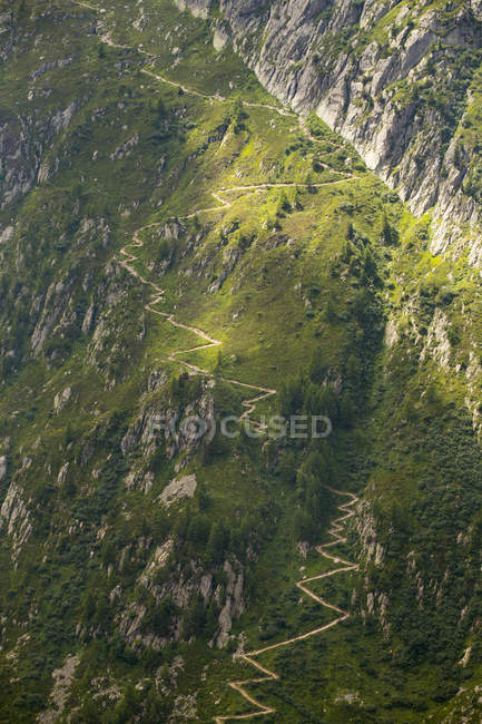 Sentiero di montagna ripido liquidazione pendio sopra Chamonix nelle Alpi francesi — Foto stock