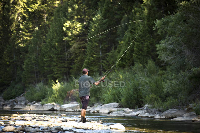 A Man Fly Fishing At The Gros Ventre River In Jackson Hole, Wyoming — Stock Photo