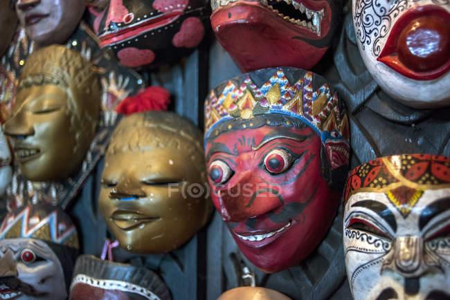 Traditionelle javanische Holzmasken, Indonesien — Stockfoto