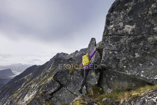 Female hiker climb steep rocky ridge towards mountain peak, Vestvgy, Lofoten Islands, Norway — Stock Photo