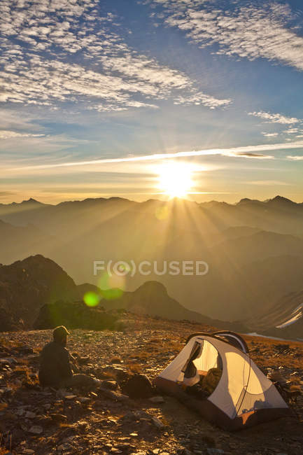 Camping On The Summit Of Crystal Peak, British Columbia, Canada — Stock Photo