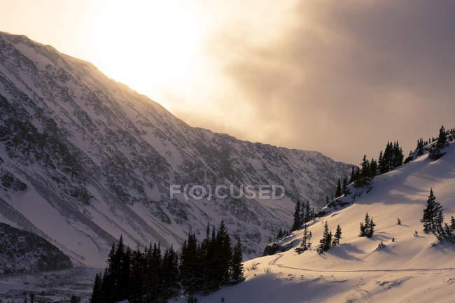 Vue panoramique de Hoosier passe pendant le coucher du soleil — Photo de stock