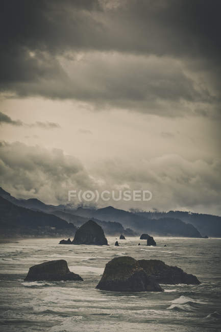 View of the Oregon Coast and Cannon Beach from Ecola State Park, Seaside, Oregon — Stock Photo