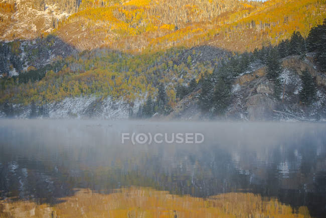 Early morning mist along a mountain lake with golden Aspen trees above — Stock Photo