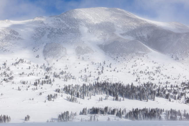 Neige et des vents violents sur Boreas Pass et Boreas montagne, forêt nationale de White River, Colorado — Photo de stock