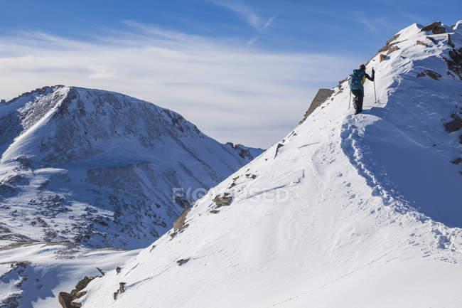 Vue arrière de femme grimpant sur le pic de Trico, forêt nationale de San Juan, Colorado. — Photo de stock