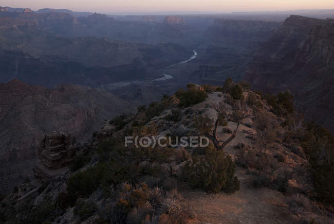 Sunrise view of the Grand Canyon from Desert View Watchtower, South Rim. Grand Canyon National Park, Arizona — Stock Photo