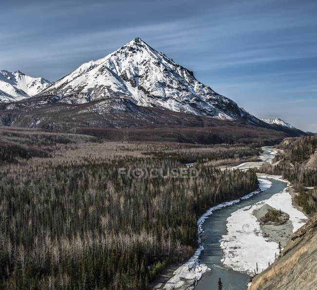 Carretera puntos de vista sobre el paisaje prístino de Alaska con la majestuosa montaña en fondo z - foto de stock
