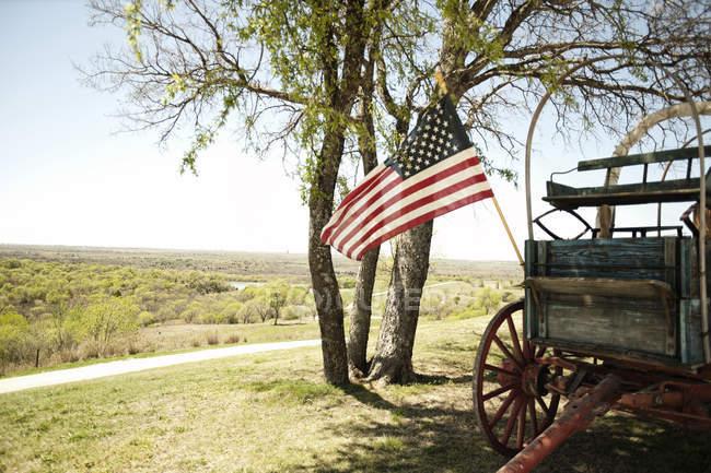 Американский флаг, придает старая лошадь обращается вагон пролетает над холмами Северного Техаса — стоковое фото