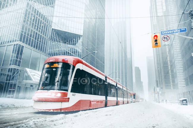 Composition of urban train on a snowy winter day in Toronto — Stock Photo