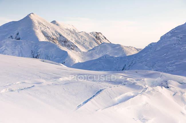 Paisaje de invierno hermosa con montaje Foraker en Parque Nacional de Denali, Alaska, Estados Unidos - foto de stock