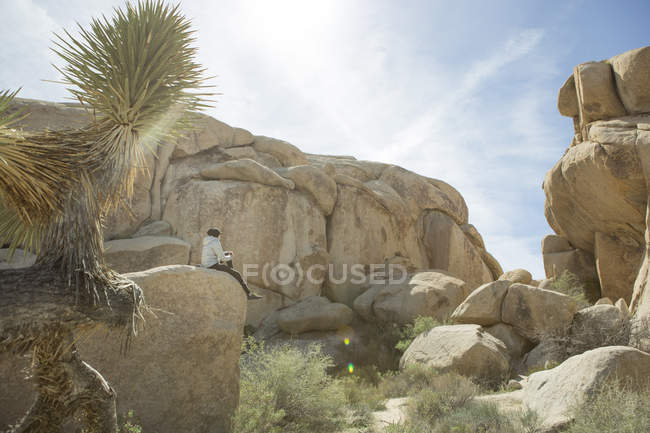Woman sitting on large rock formation in Joshua Tree National Park, California, USA - foto de stock
