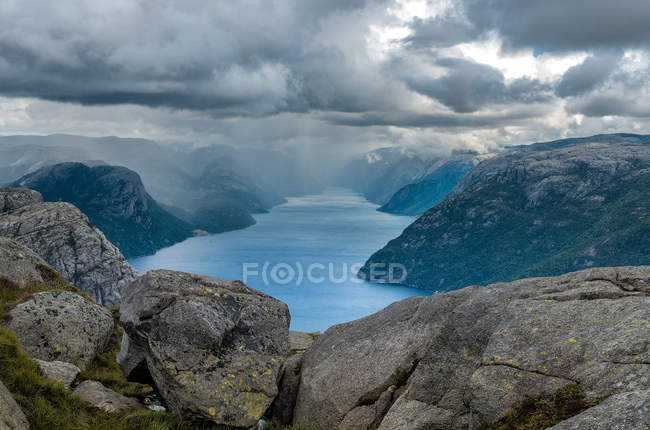 Scenic view of cloudy sky and Lysefjord, Norway — Stock Photo