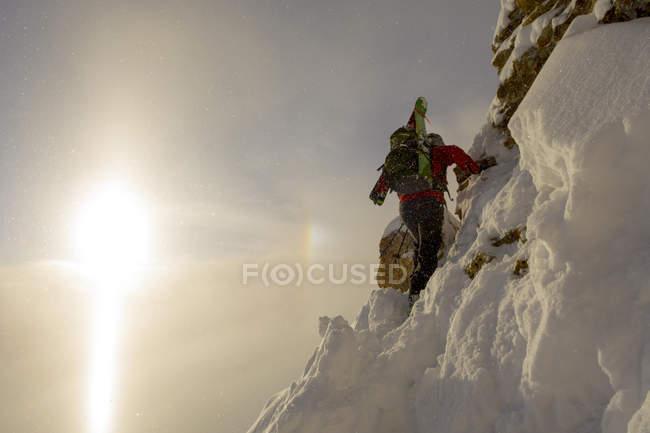 Skifahrerin Klettern Steilhang oberhalb Ophir Pass, San Juan National Forest, Silverton, Colorado, Usa — Stockfoto