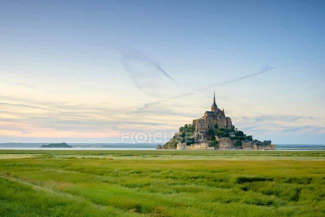 Mont-Saint-Michel Abbey at sunset, UNESCO World Heritage Site, Normandy, France — Stock Photo