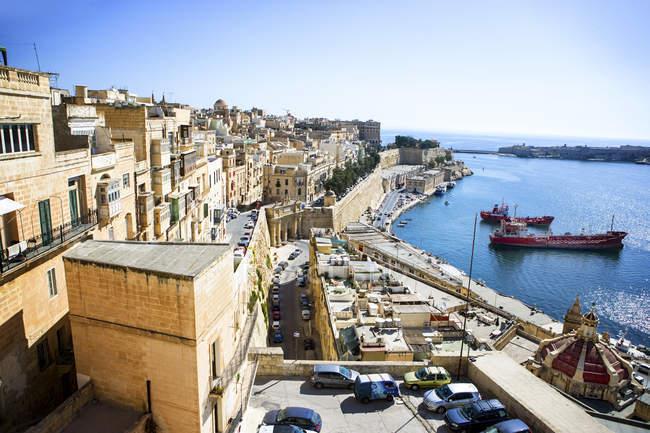 Quartier historique de la Valette et de port et de Méditerranée, Malte — Photo de stock