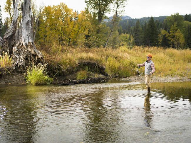 Людина літати риболовля на річці з осіннім лісом на задньому плані — стокове фото