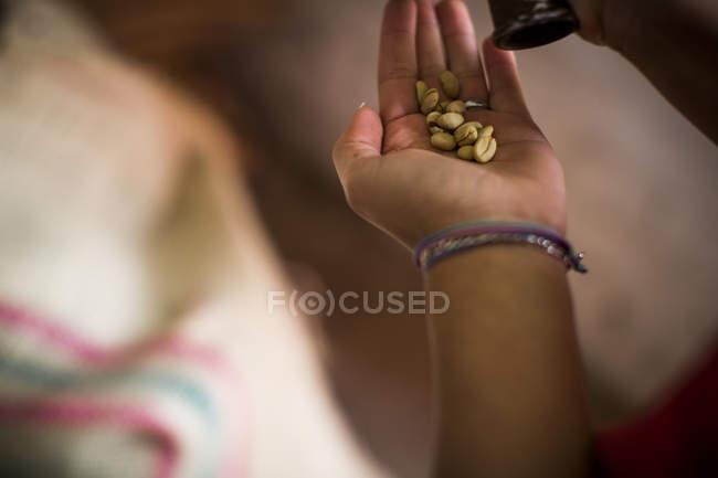 Fermez-vous vers le haut de la femme testant des grains de café — Photo de stock