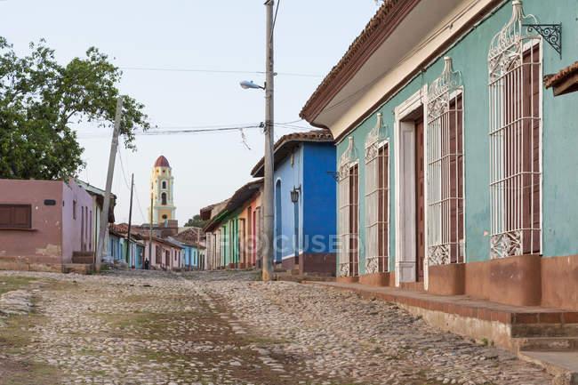Case variopinte nelle strade di Trinidad, Cuba — Foto stock
