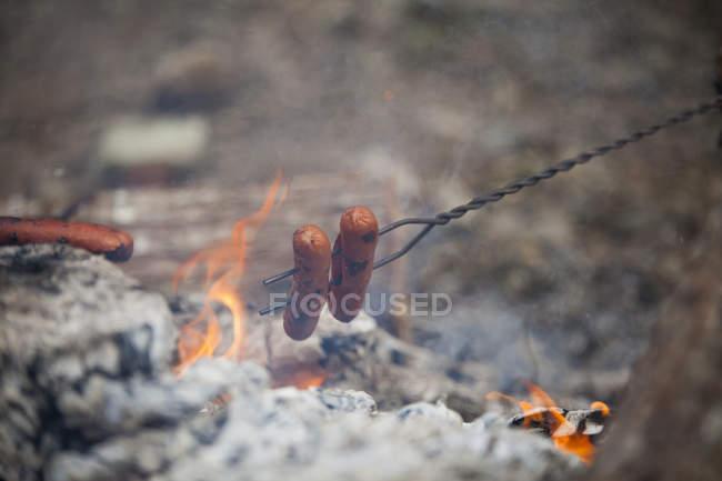 Hotdogs über Kohlen und eine Flamme rösten — Stockfoto