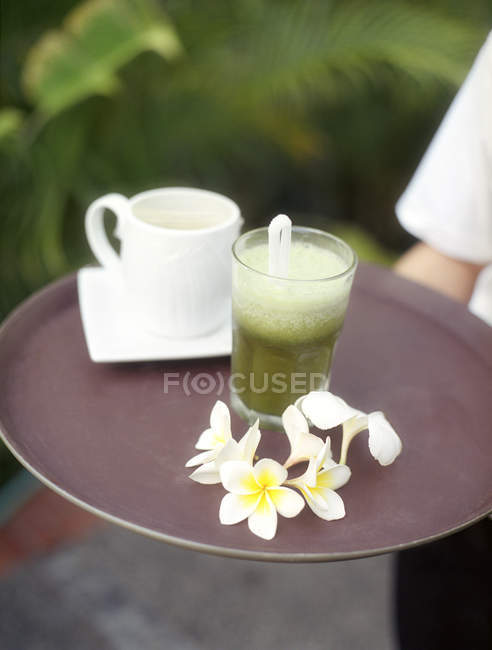 Detox drink from vegetables and coconut milk served at Farm at San Benito, Philippines — стокове фото