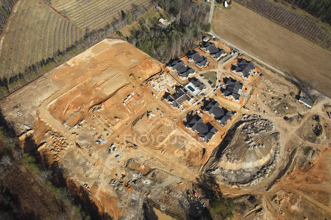 Aerial view of the construction site for a home in a subdivision outside Hendersonville, NC — Stock Photo