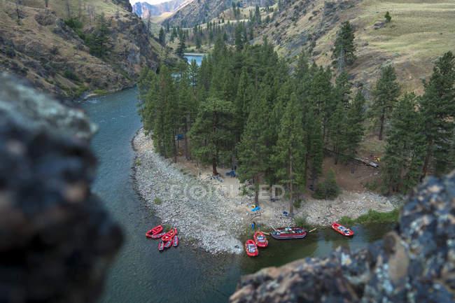 Vermelhos barcos ancorados à margem de Rio de montanha sob pinheiros — Fotografia de Stock