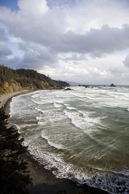 Rocciosa e ripida costa dell'Oregon con il cielo nuvoloso — Foto stock