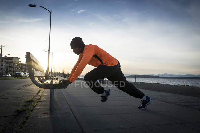 Young man in sportswear during urban workout — Stock Photo