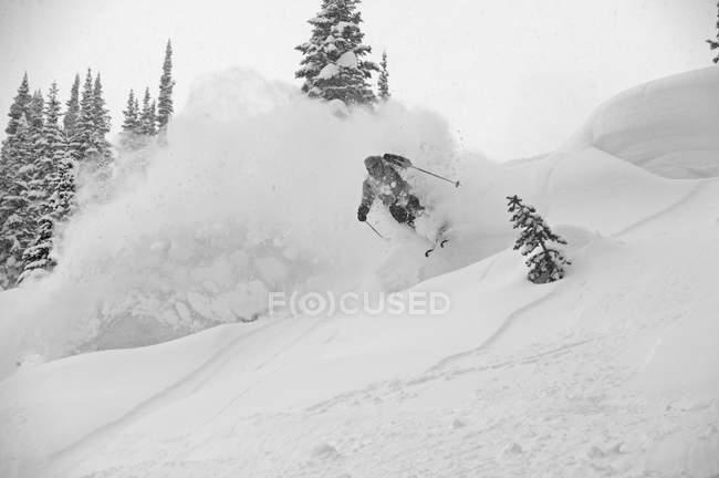 Ski en hiver au Canada, mise au point sélective d'extrême homme — Photo de stock