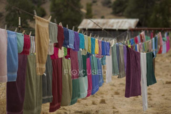 Varal cheio de toalhas secagem multicoloridas — Fotografia de Stock