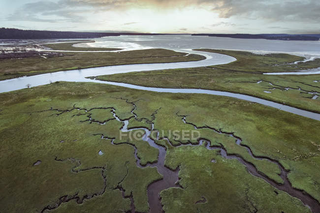 Aerial view of river delta at low tide with cloudy sky — Stock Photo