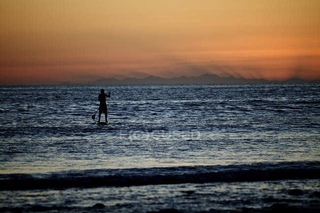 Silhouette of man on stand paddleboard at sunset — Stock Photo