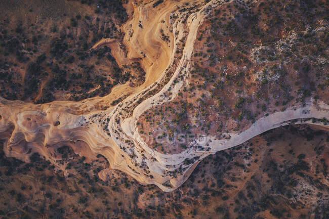 Aerial view of the sea, the surface of the mountains. — Stock Photo