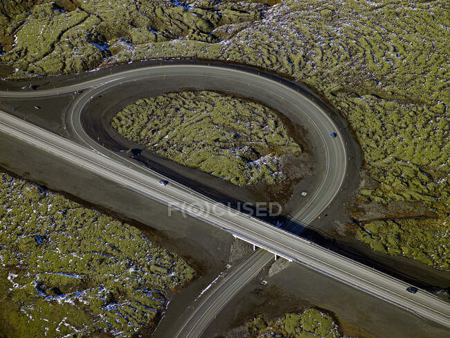 Aerial view of high way with cars — Stock Photo