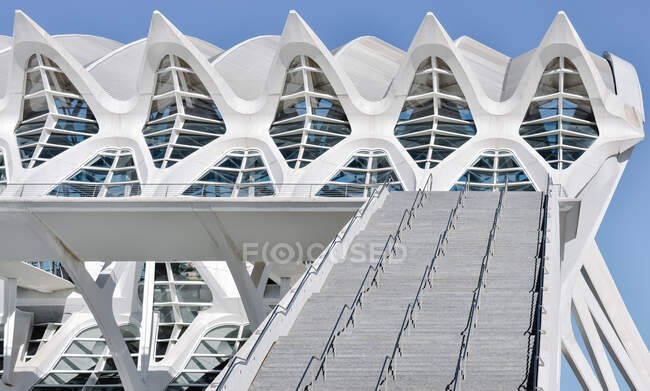 VALENCIA , SPAIN ; 11 24 2018 : View of the science museum in the city os science and arts in Valencia - Spain from the outside garden in a sunny morning. Horizontal photo — Stock Photo