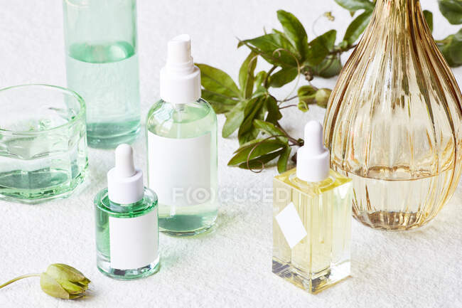 Spa and wellness concept. cosmetic products and accessories on white background. — Stock Photo