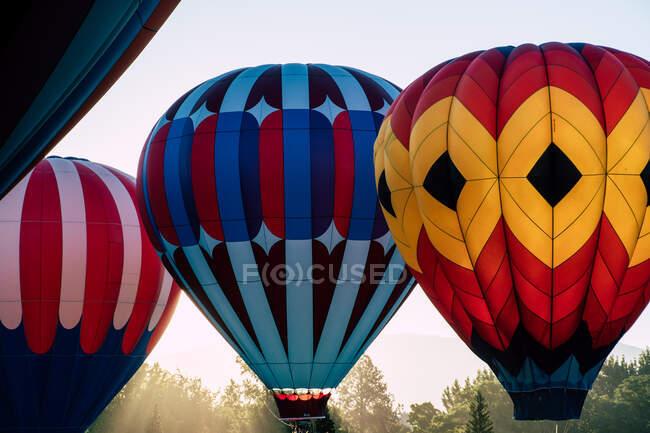 Hot Air Balloons in Summer. Transportation — Stock Photo