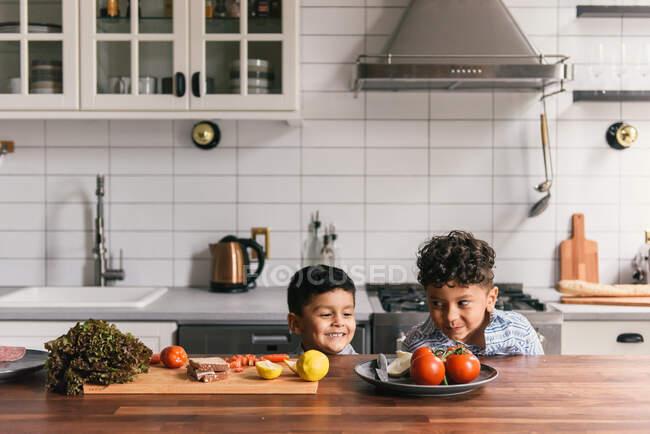 Portrait of happy brothers kids — Stock Photo
