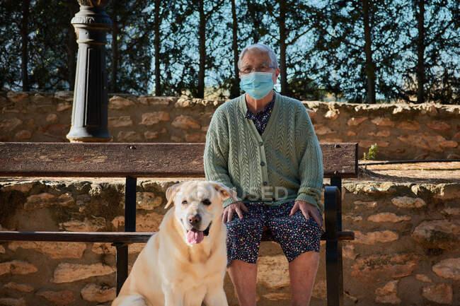 Бабушка со своим питомцем сидит на скамейке в маске — стоковое фото