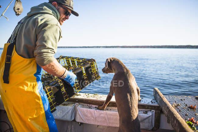Acuicultura marisquería para la concha una mañana temprano en la bahía de Narragansett en Rhode Island - foto de stock