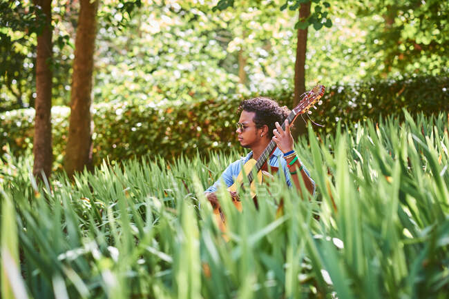 Musician practicing with the guitar in the field. He is sitting playing a classical guitar. — Stockfoto